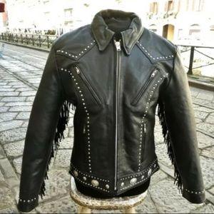 Vintage biker motorcycle leather jacket size M